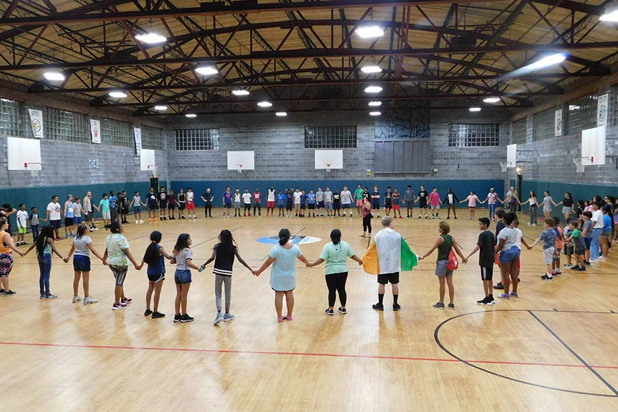 holding hands in gym