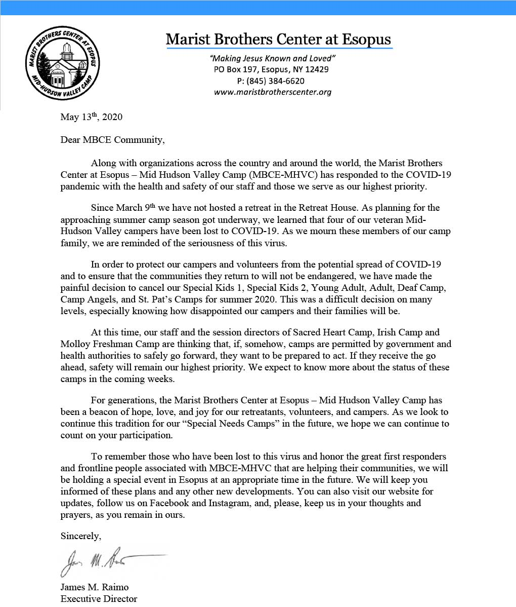 Raimo Letter about summer camp updates