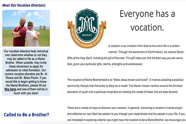 Marist Brothers Vocation Homepage Preview