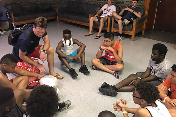 camp group circle in stone room