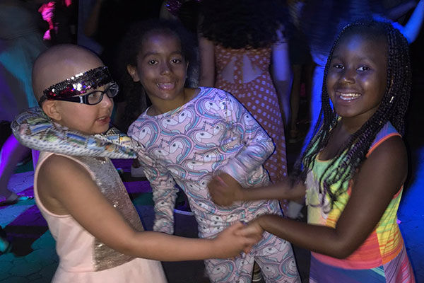 campers at dance party