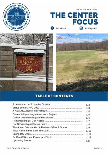 Esopus Center Focus Spring 2021 issue