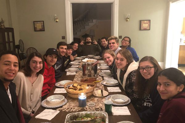 Retreats group at dinner table