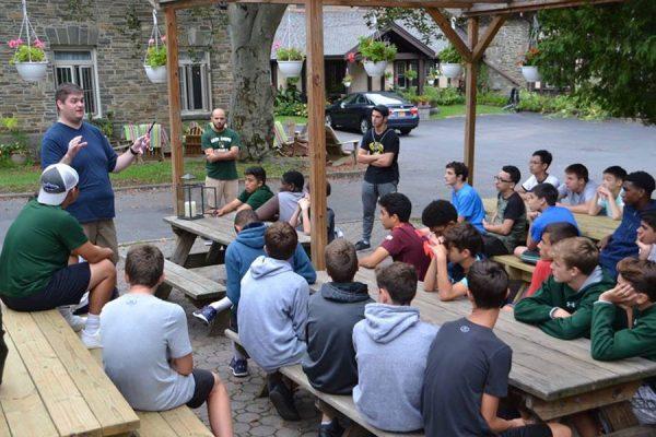 Retreats group meeting outdoors